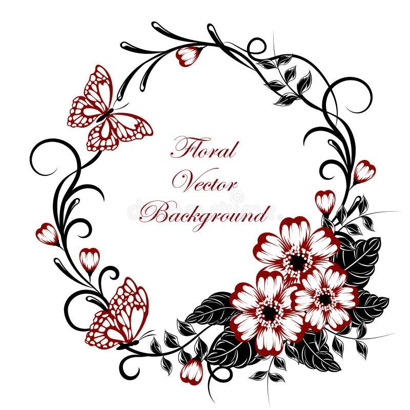 Fundo floral bonito com as borboletas em cores vermelhas e pretas com lugar para seu texto ilustração stock