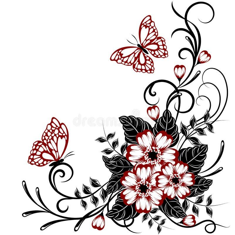 Fundo floral bonito com as borboletas em cores vermelhas e pretas com lugar para seu texto ilustração royalty free