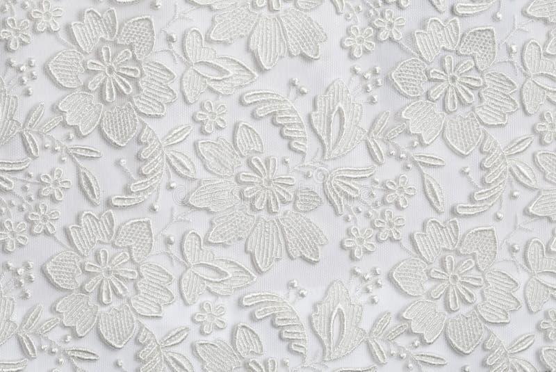 Fundo floral branco da textura do laço foto de stock royalty free