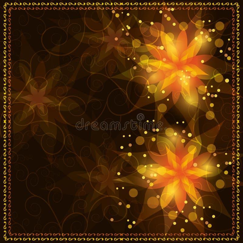 Fundo floral brilhante com ornamento dourado ilustração royalty free