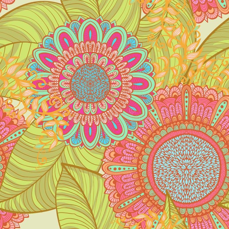 Fundo floral brilhante sem emenda elegante ilustração royalty free
