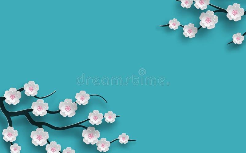 Fundo floral a cereja de florescência decorada floresce o ramo, contexto azul brilhante para o projeto da estação do tempo de mol ilustração stock