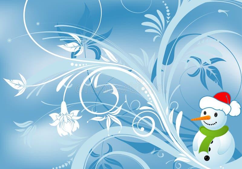 Fundo floral com boneco de neve ilustração royalty free