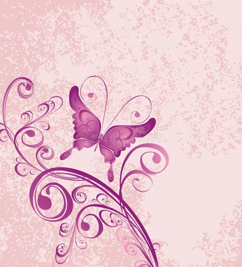 Fundo floral com borboleta ilustração stock