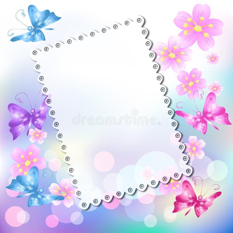 Fundo floral com borboleta ilustração do vetor