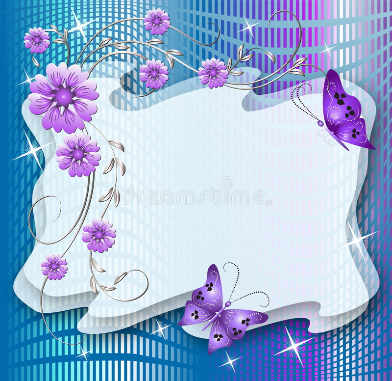 Fundo floral com borboletas ilustração royalty free