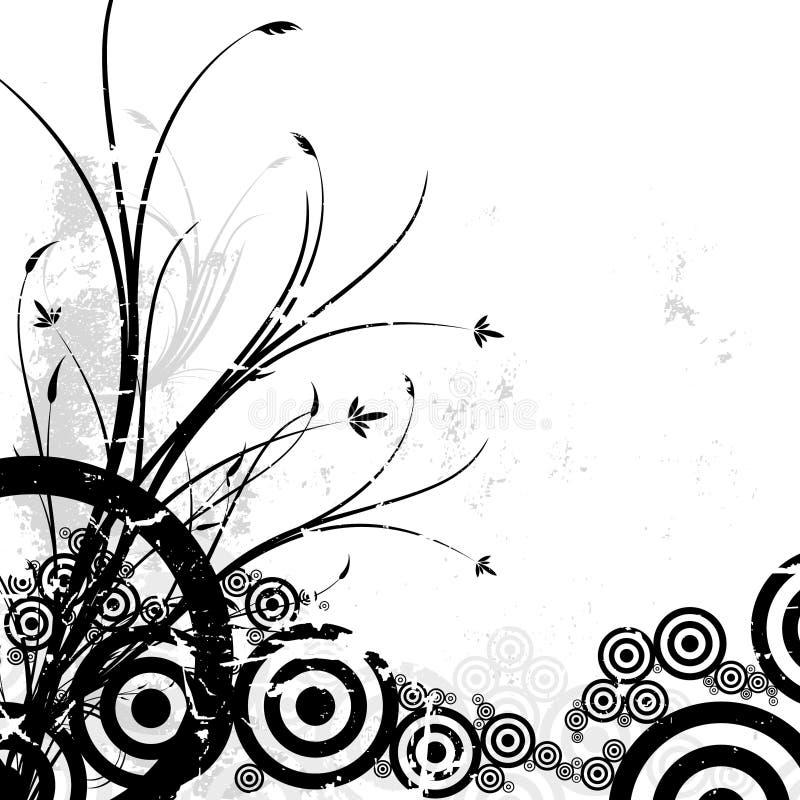 Fundo floral com círculos ilustração stock
