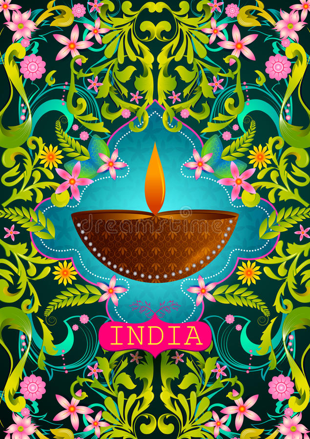 Fundo floral com Diwali Diya que mostra a Índia incrível ilustração stock