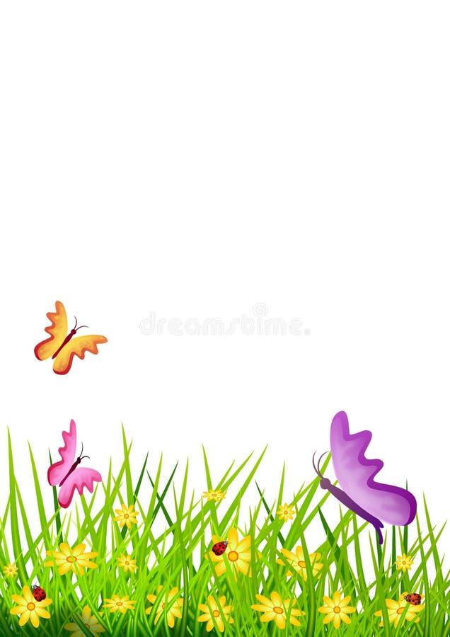 Fundo floral com ervas e flores, borboletas e joaninhas pequenos Ilustra??o ilustração do vetor