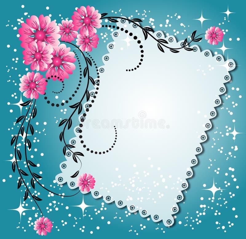 Fundo floral com estrelas ilustração do vetor