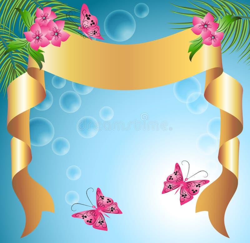 Fundo floral com fita ilustração do vetor