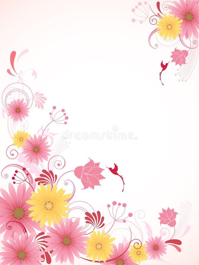 Fundo floral com flores cor-de-rosa ilustração do vetor