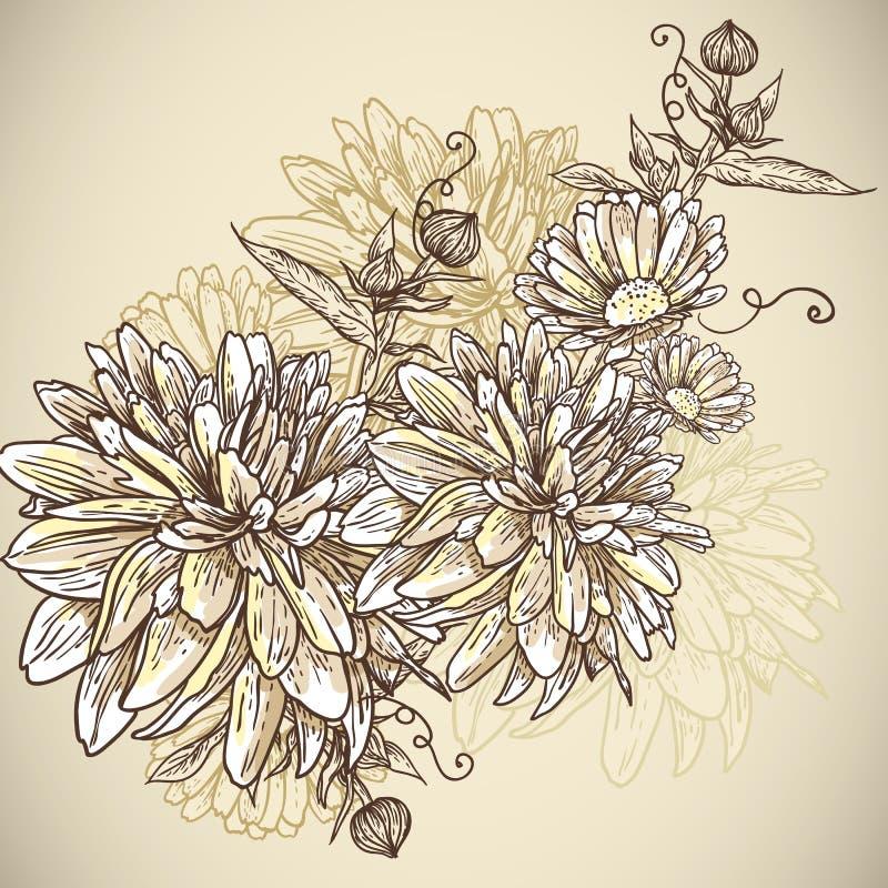 Fundo floral com flores de florescência ilustração royalty free
