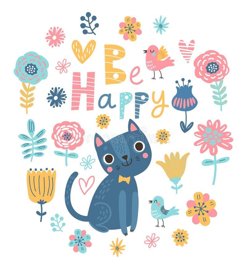 Fundo floral com gatos e pássaros ilustração stock