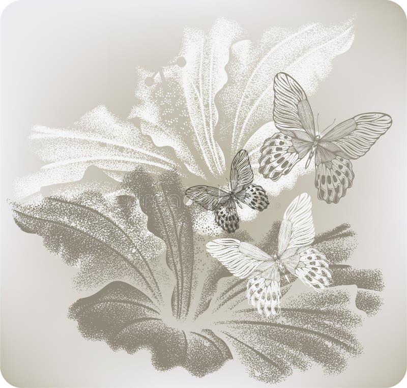 Fundo floral com hibiscus e borboletas, mão-desenho V ilustração do vetor