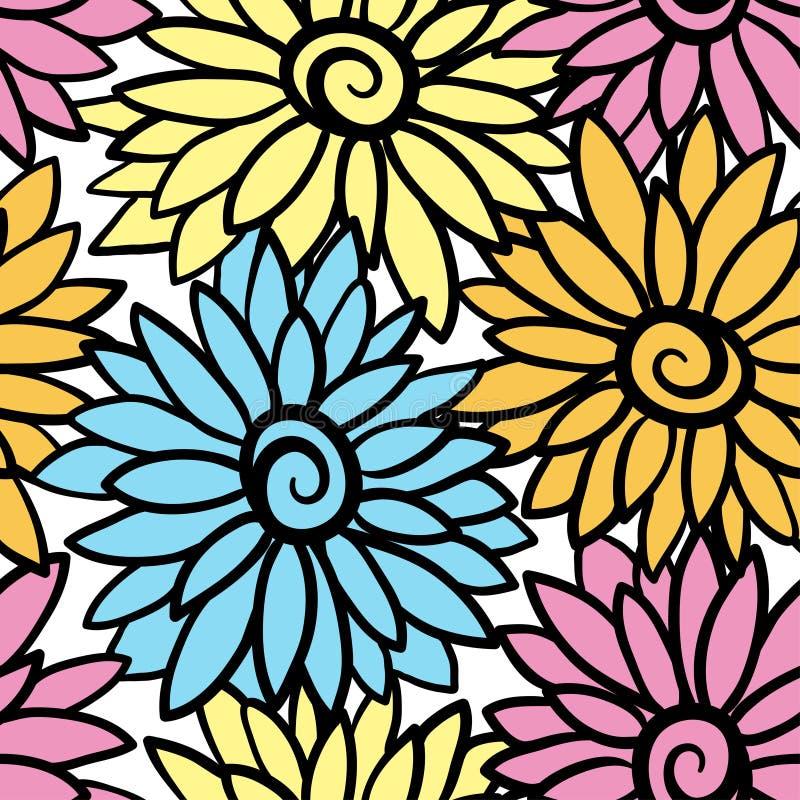 Fundo floral com o crisântemo de florescência estilizado, ásteres ilustração royalty free
