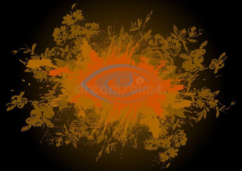 Fundo floral com olhos abstratos ilustração royalty free