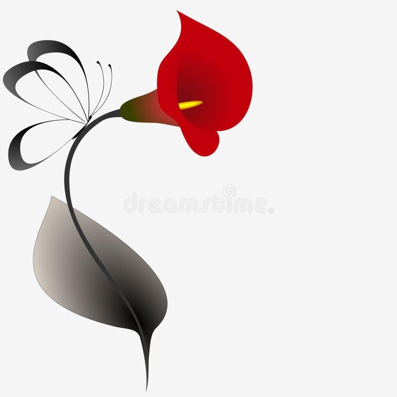 Fundo floral com os lírios e as borboletas vermelhos de calla ilustração royalty free