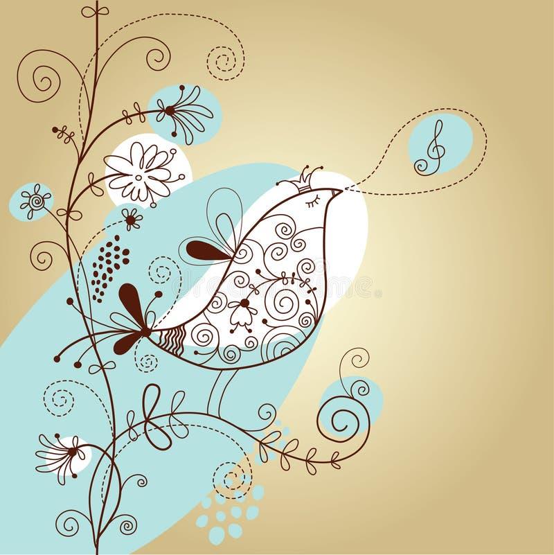 Fundo floral com pássaro ilustração do vetor