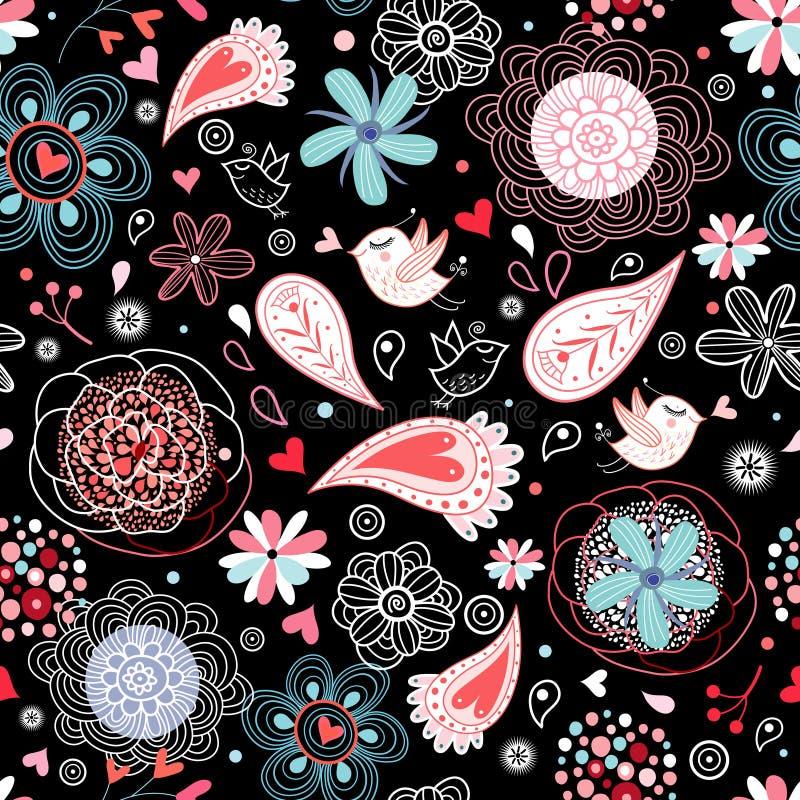 Fundo floral com pássaros ilustração royalty free