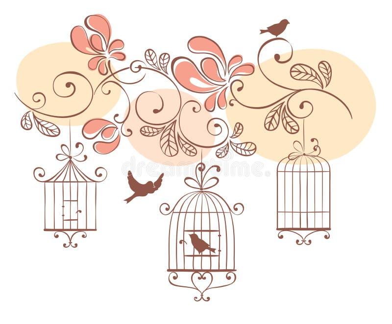Fundo floral com pássaros ilustração stock