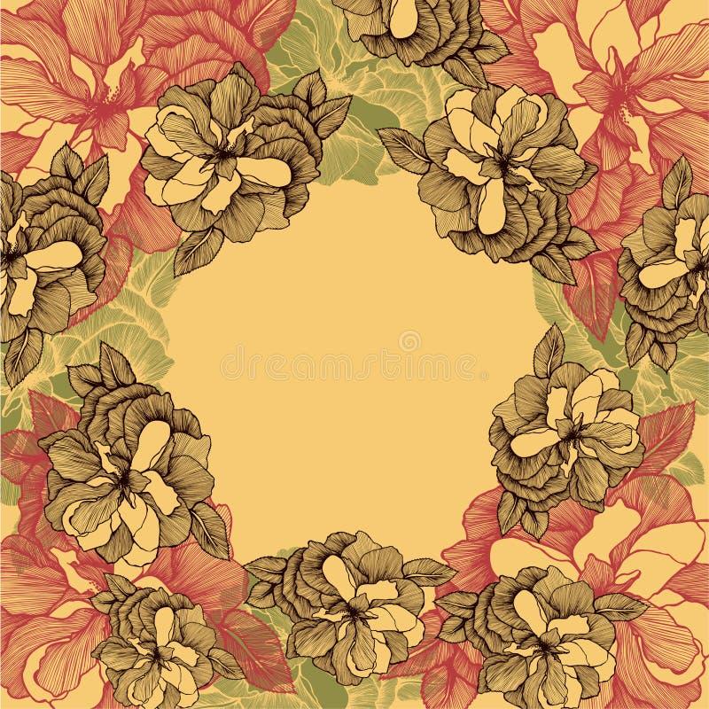 Fundo floral com rosas, mão-desenho Ilustração do vetor ilustração stock