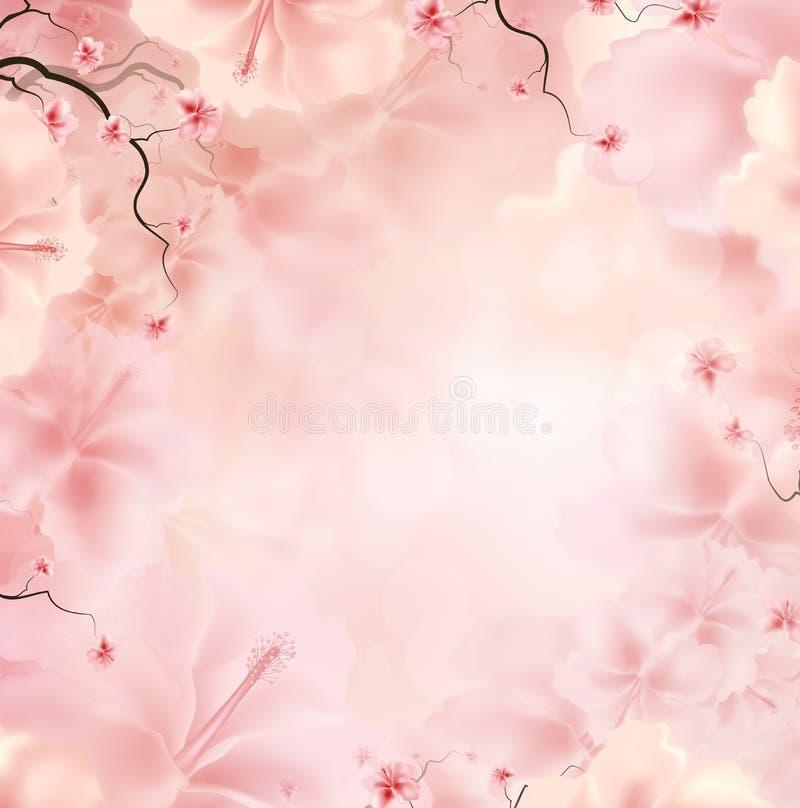 Fundo floral cor-de-rosa ilustração royalty free