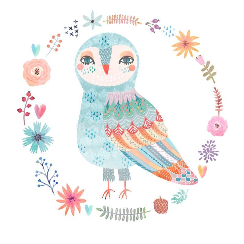Fundo floral da aquarela com uma coruja bonita ilustração stock