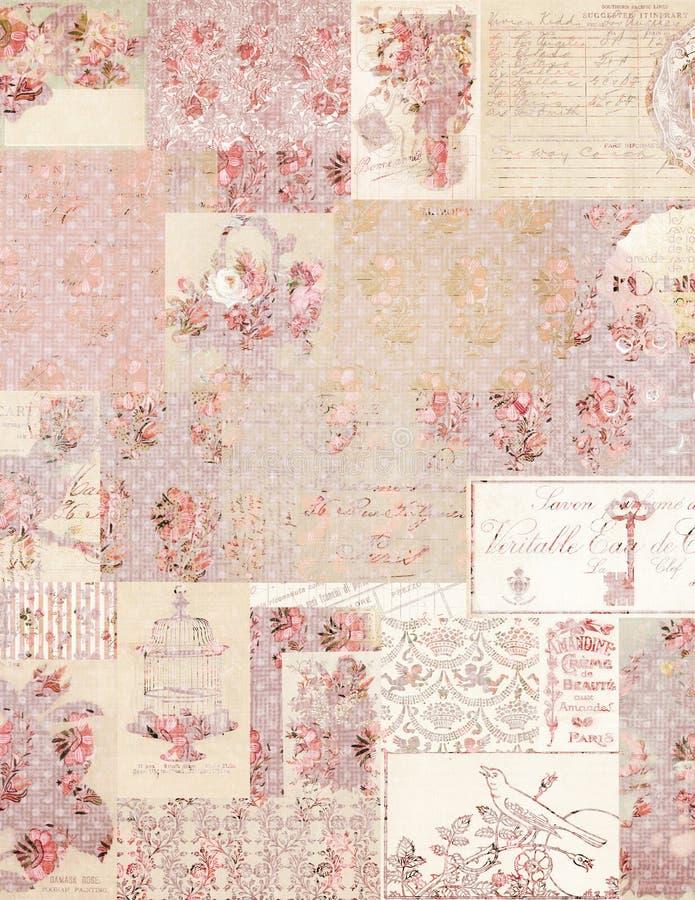 Fundo floral da colagem do vintage fotografia de stock