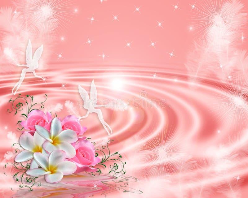 Fundo floral da cor-de-rosa feericamente da fantasia ilustração stock