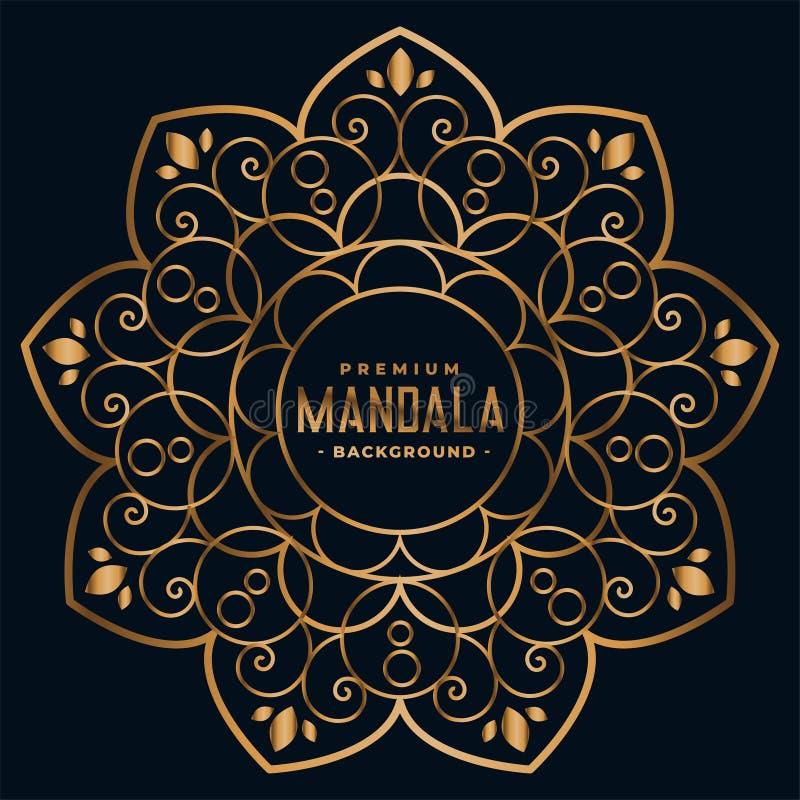 Fundo floral da decoração da mandala dourada ilustração royalty free