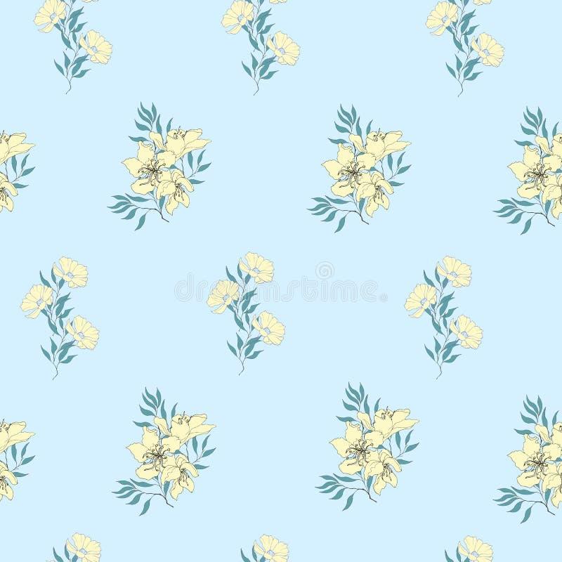 Fundo floral de flores amarelas delicadas no azul Textura sem emenda da luz do vintage para cartões, telhas, convites, cumpriment ilustração royalty free