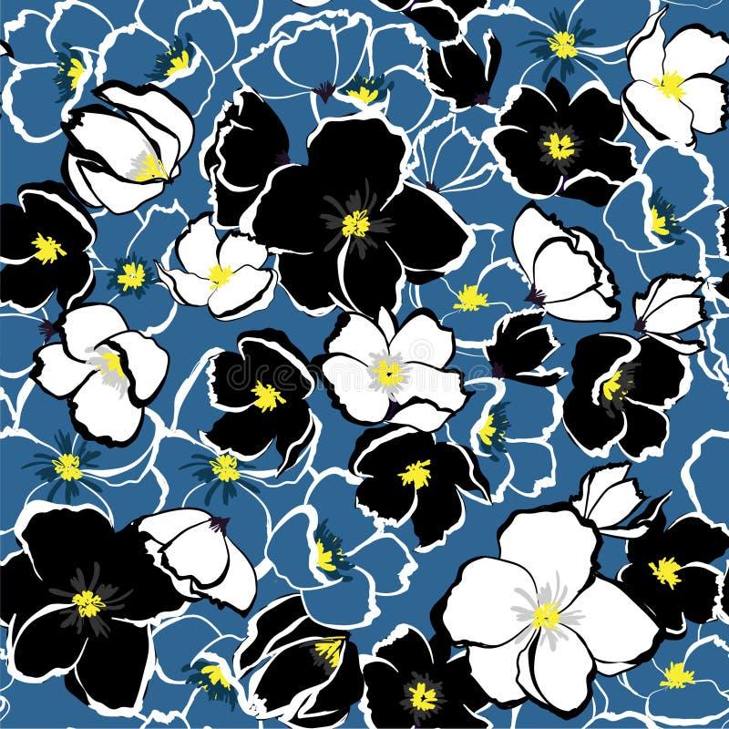 Fundo floral de florescência do vetor sem emenda com azul monótonos h ilustração royalty free
