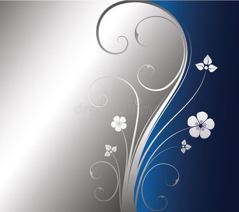 Fundo floral de prata ilustração do vetor