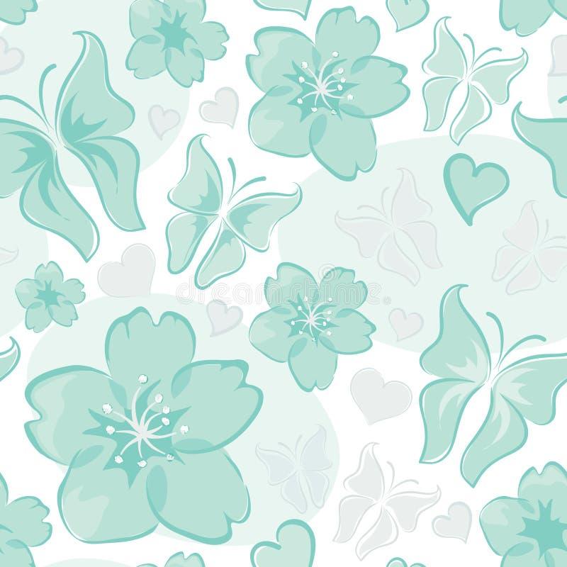 Fundo floral de turquesa ilustração do vetor