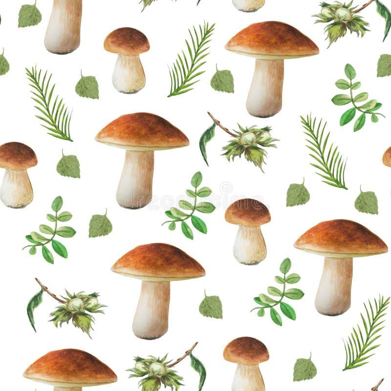 Fundo floral decorativo Cole??o do outono Cogumelos tirados mão da aquarela e folhas e porcas diferentes ilustração do vetor