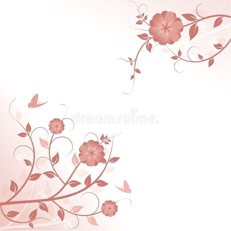 Fundo floral decorativo com borboletas ilustração royalty free
