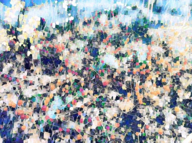 Fundo floral desvanecido com as flores vermelhas do outono Ilustração digital de florescência vermelha e verde da planta fotos de stock royalty free
