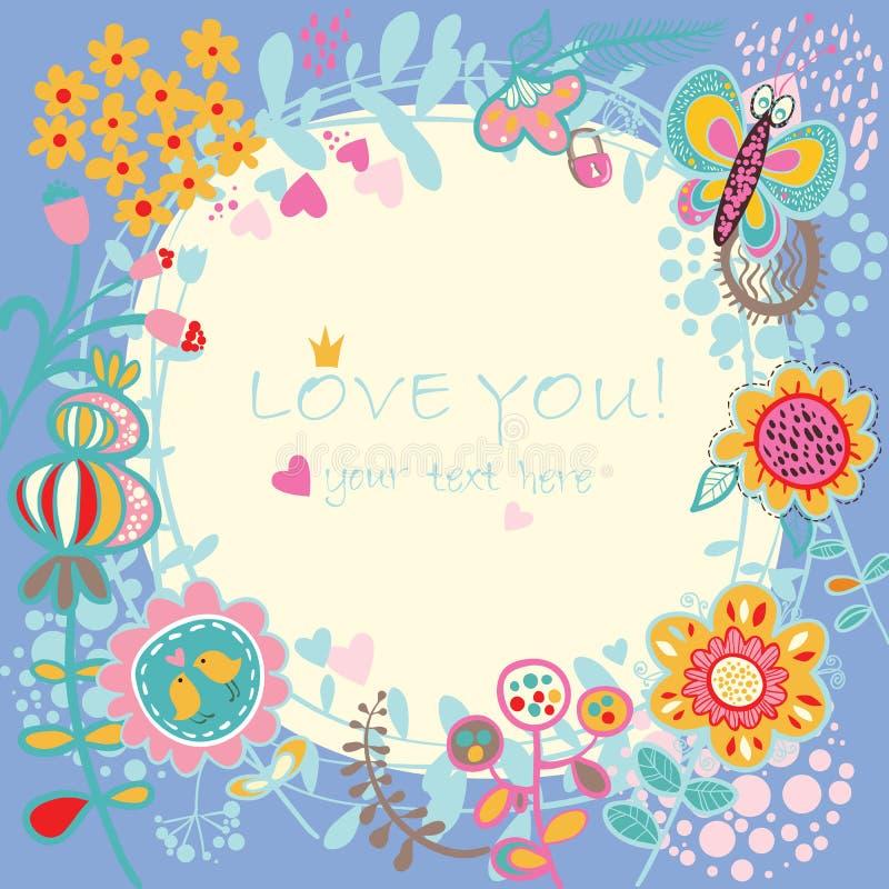 Fundo floral do amor. ilustração do vetor