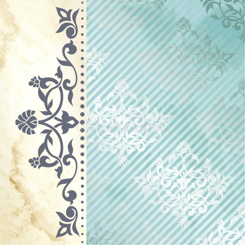 Fundo floral do arabesque no azul e no ouro ilustração do vetor