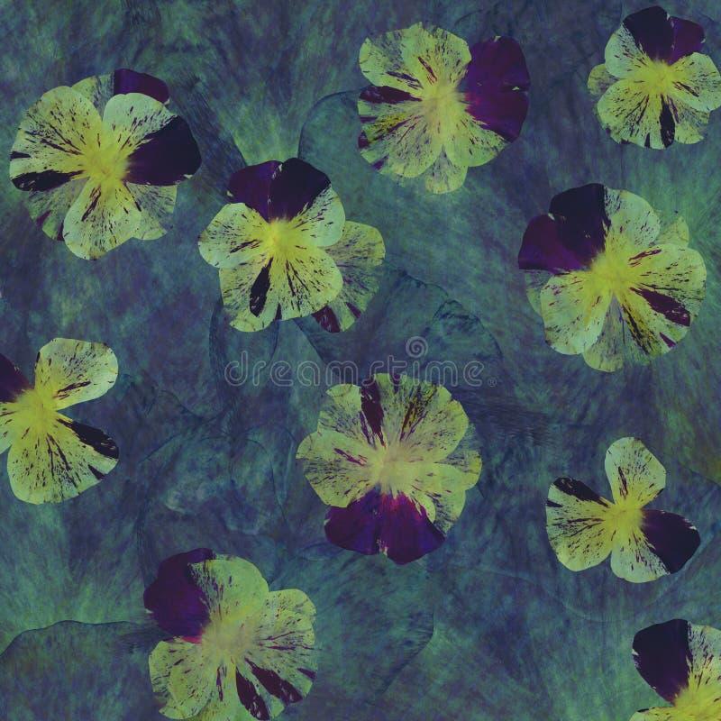 Fundo floral do batik do grunge da arte Cores pastel do Stylization, aquarelas Contexto textured vintage com o azul, violeta ilustração do vetor