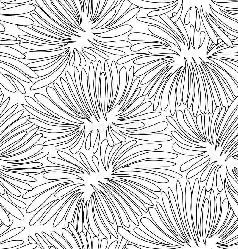 Fundo floral do contorno preto e branco abstrato Teste padrão com os crisântemos decorativos para o livro para colorir ilustração royalty free