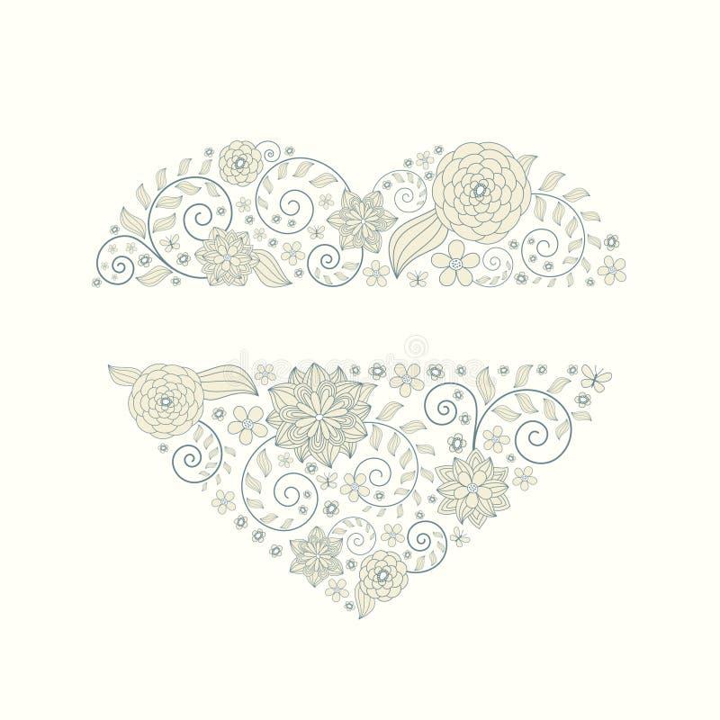 Fundo floral do coração ilustração royalty free
