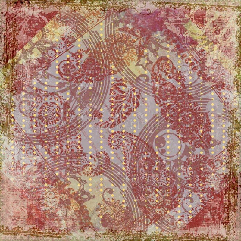 Fundo floral do frame do projeto do Batik de Artisti ilustração do vetor