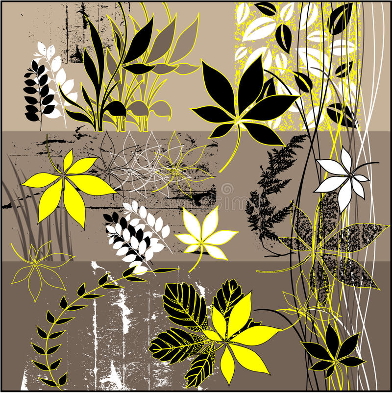 Fundo floral do grunge da arte ilustração royalty free