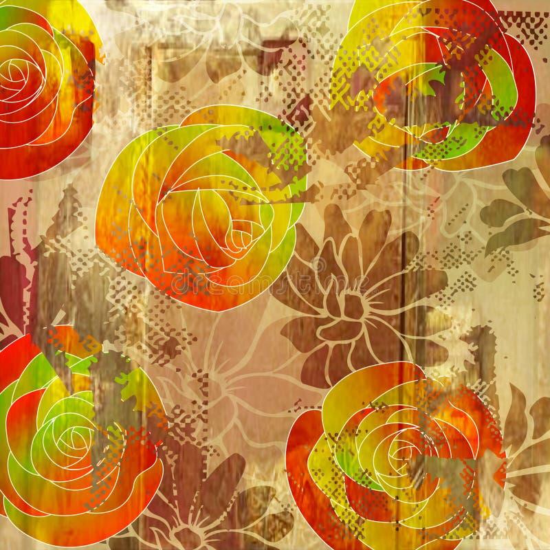 Fundo floral do grunge da arte ilustração do vetor