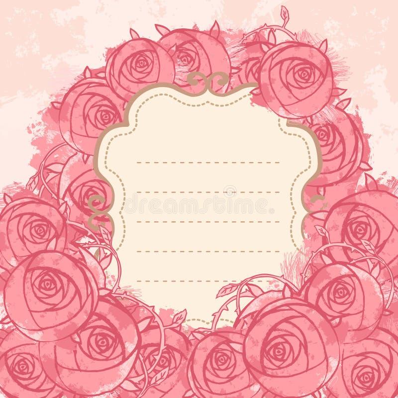 Fundo floral do grunge do casamento cor-de-rosa ilustração stock