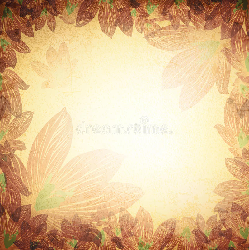 Fundo floral do Grunge do vintage ilustração royalty free