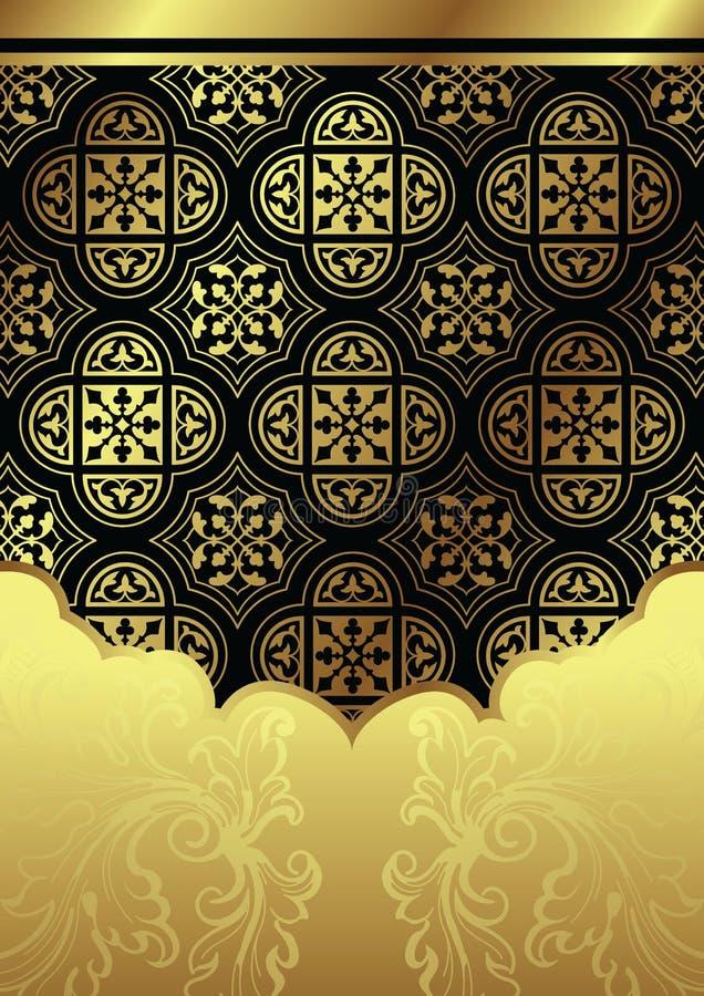 Fundo floral do ouro ilustração stock