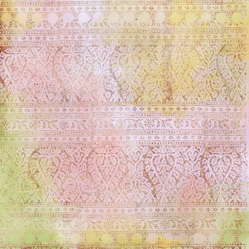 Fundo floral do projeto do Batik de Artisti ilustração stock